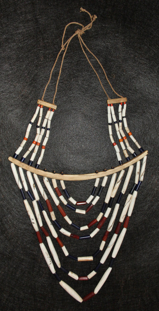 Necklace : Authentic Vintage Tangkhul Shell and Glass Bead Necklace with Long Bone Rib, from Nagaland, NE India #476