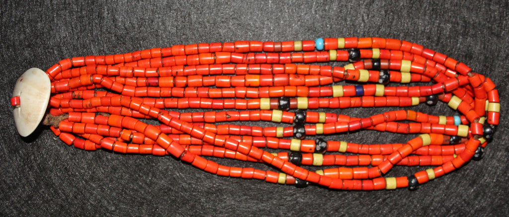 Vintage Necklace : Authentic Vintage Konyak Large Orange Tile Bead Necklace from Nagaland, NE India #479