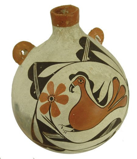 Canteen :  Native Ameican Vintage Acoma Polychrome Pottery Canteen, ca 1950 #494