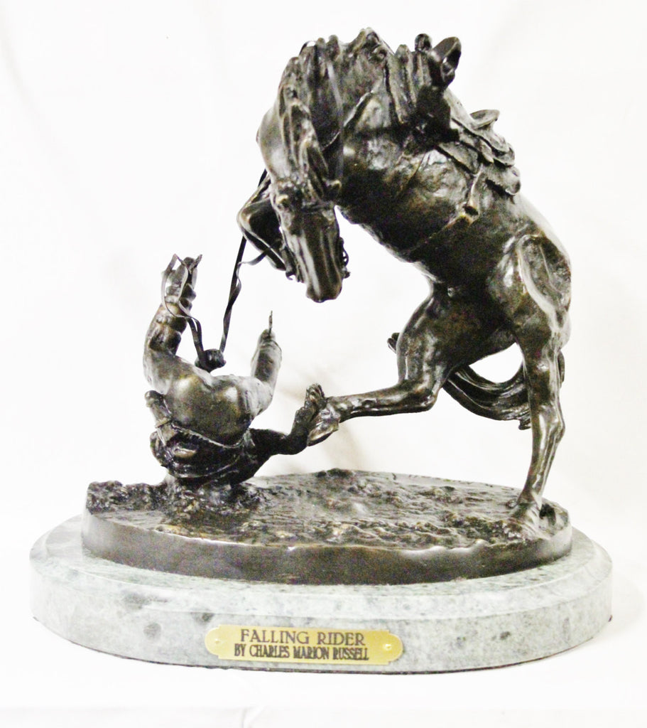 "Horse Sculpture : After Charles Marion Russell, ""Falling Rider"", Bronze Sculpture #505"