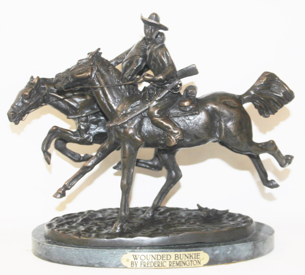 "Western Art : After Frederic Remington,""Wounded Bunkie"" Bronze Sculpture #517"