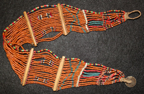 India Beads : Young Konyak Girl's Small Belt with Design Work in The Beading #548