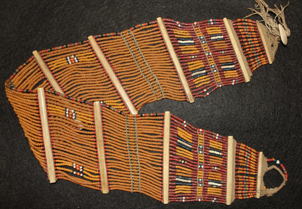 India Clothing : Vintage Konyak Mustard Fine Wide Beaded Belt from North Eastern, India #550
