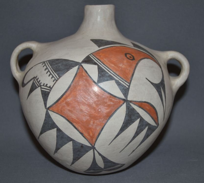 Native Canteen : Native American Acoma Polychrome Bird Design canteen, Ca 1970's #570