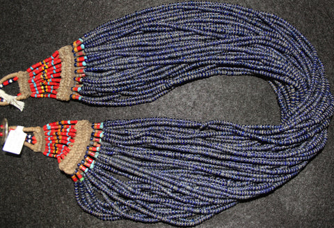 Vintage Necklace : Authentic Vintage Konyak Naga Cobalt Glass Bead Necklace with Special Beaded Clasp #567