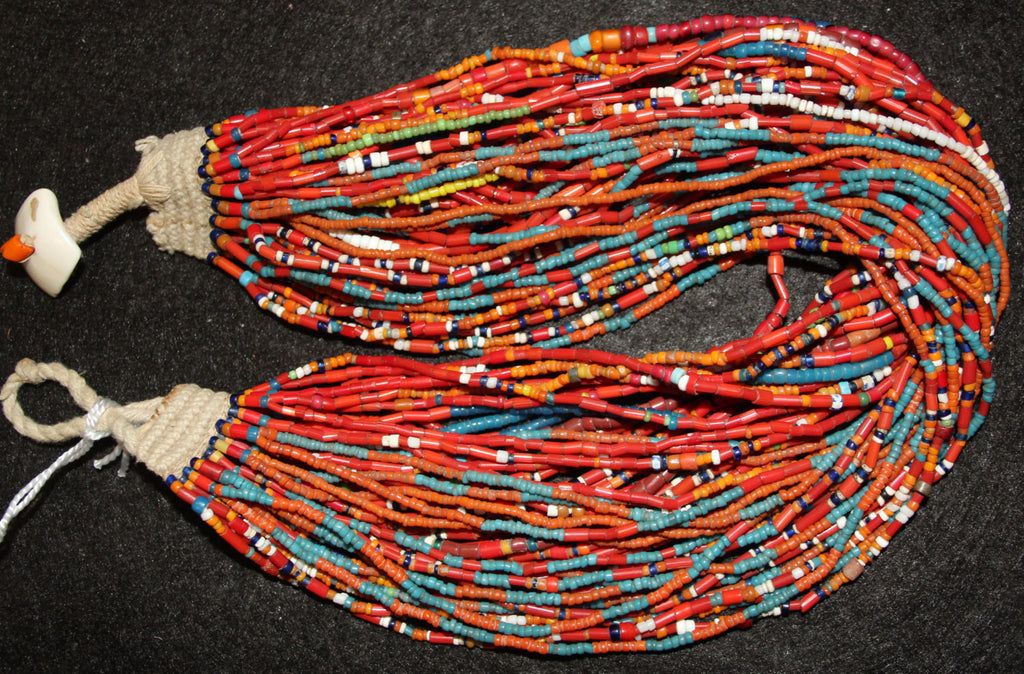 Vintage Beads : Vintage Naga Multi Colored Glass Sampler Bead Multi-strand Necklace with Shell Button #572