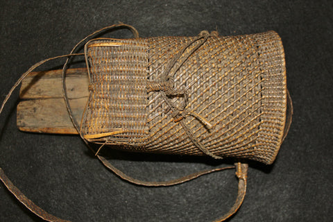 Naga :  Authentic Naga Dao Holder, Wood and Rattan with a Small Side Basket #578