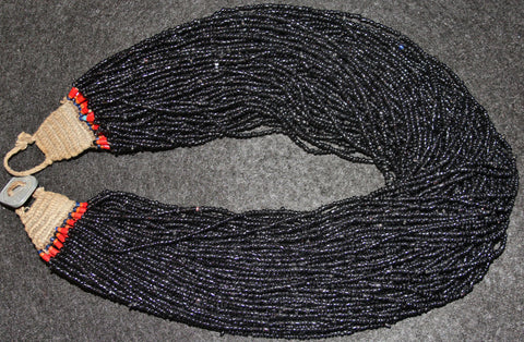 Black Bead Necklace : Authentic Naga Extra Fine Black Multistrand Glass Bead Necklace #583-Sold