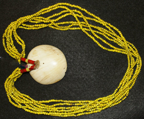 Glass Beaded Necklace : Authentic Naga Heavy Yellow Multistrand Glass Bead Necklace with Large Shell Closure #586
