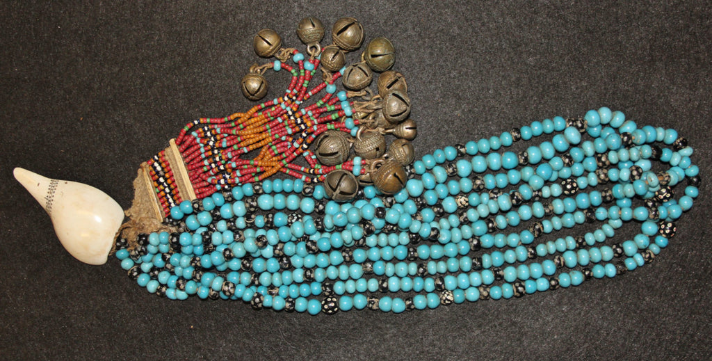 Nagaland : Authentic Konyak Naga Chief‰۪s Blue Padre Bead Necklace with Shells and Bells #604