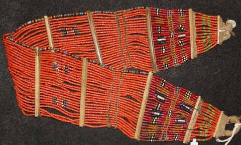Bead Belt : Authenic Naga Konyak Woman's Orange Bead Belt #611