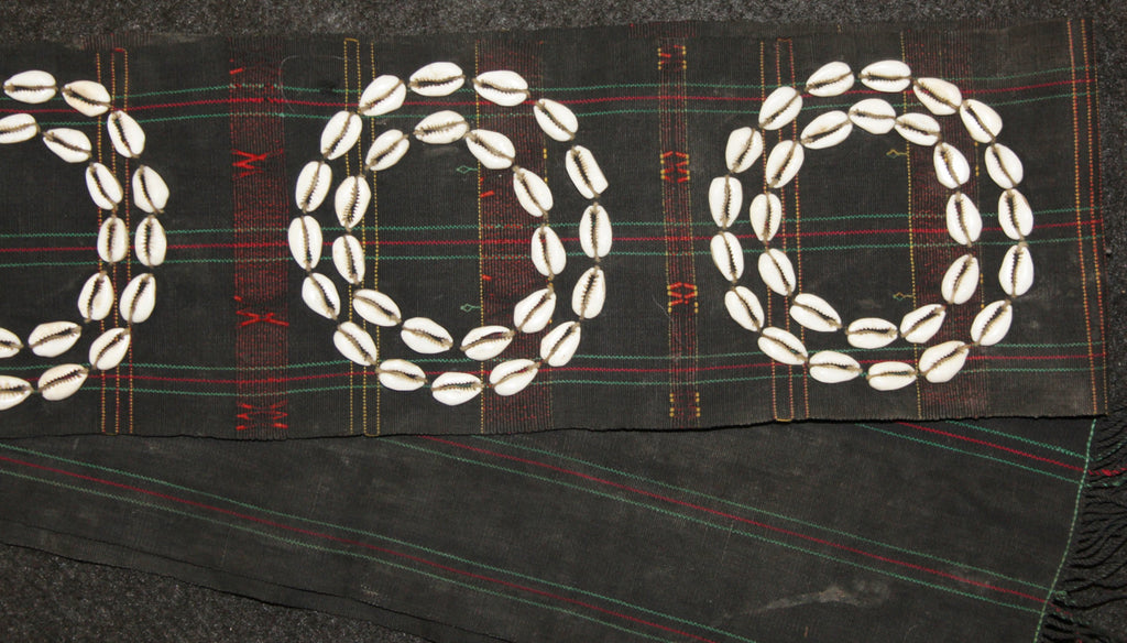 Shells : Authentic Chang Warrior Sash with Six Double Cowry Shell Circles #616