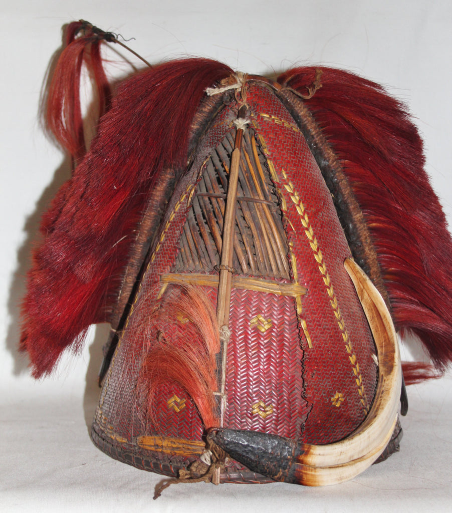 Warrior : Authentic Chang Warrior Hat with Red Goat Hair Top Piece and Attachment and Boar‰۪s Tusks #622