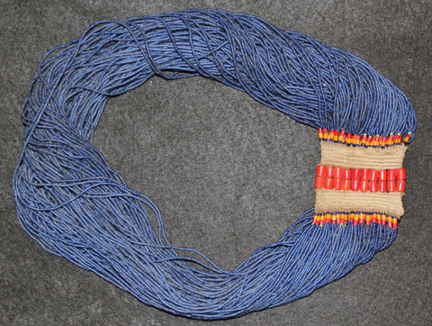 Tribal Jewelry : Authentic Naga X Large 113 Strand Fine Cobalt Beads With Large Orange Tile Bead Closure #626
