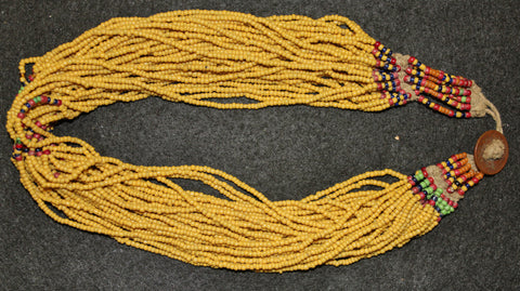 Glass Beaded Necklace : Authentic Naga Medium Yellow Royal Glass Bead Necklace #642