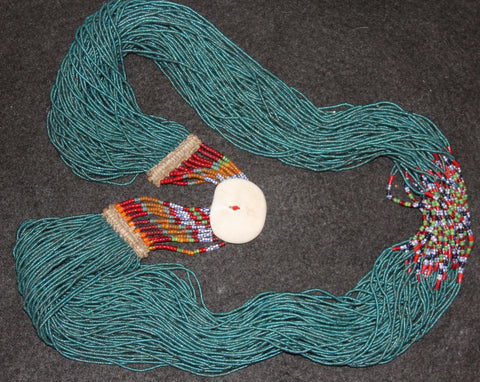 Long Necklace : Authentic Naga Extra Long Teal Royal Glass Bead Necklace with Fine Beaded Clasp #636
