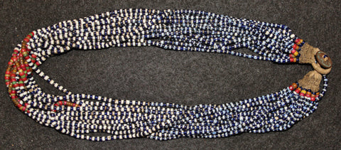Glass Beaded Necklace : Authentic Naga Small Chevron/Cobalt Glass Bead Royal Necklace #640