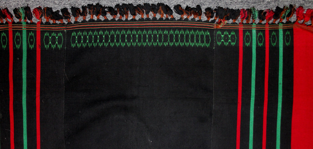 Woman's Skirt : Authentic Naga Angami Woman‰۪s Black Skirt with Green and Red Stripes #646