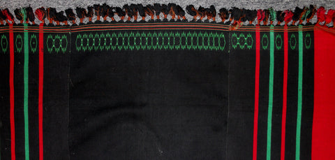 Woman's Skirt : Authentic Naga Angami Woman's Black Skirt with Green and Red Stripes #646