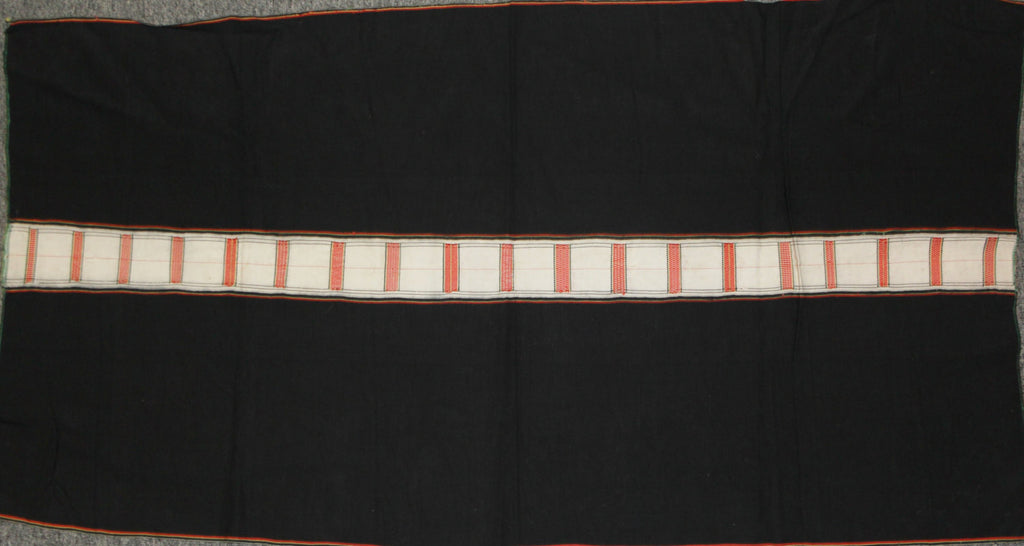 Tribal Clothing : Authentic Zemi Naga Tribe Woman‰۪s Skirt, with Black Background with Finely Woven White and Orange Center Stripe #653