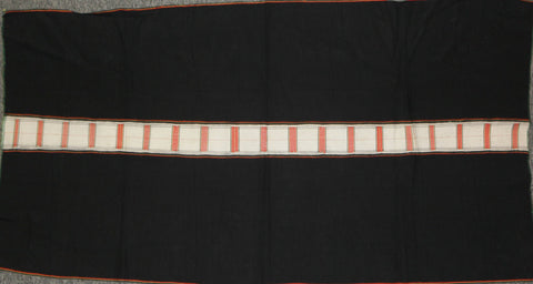 Tribal Clothing : Authentic Zemi Naga Tribe Woman's Skirt, with Black Background with Finely Woven White and Orange Center Stripe #653