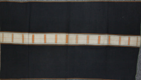 Vintage Skirt : Authentic Zemi Naga Tribe Woman's Skirt, with Black Background with Finely Woven White & Orange Center Stripe #652