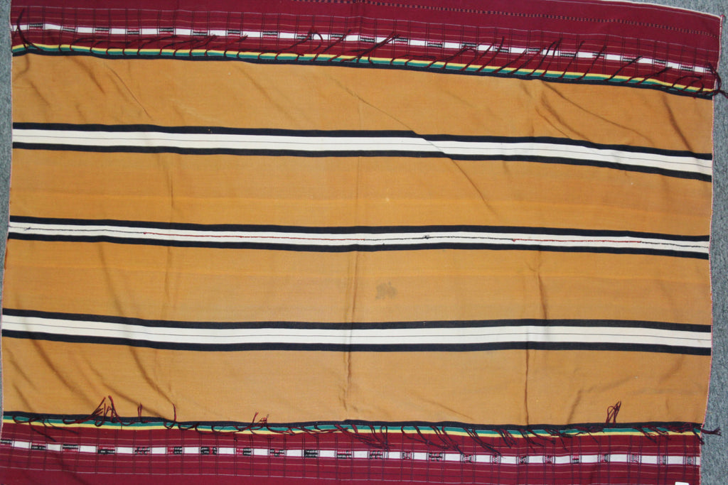 Tribal : Authentic Zemi Naga Tribe Man‰۪s Dark Mustard Body Cloth with Double Sided Weave #654