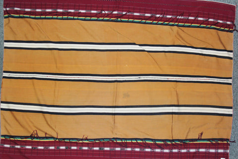 Tribal Body Cloth : Authentic Zemi Naga Tribe Man's Dark Mustard Body Cloth with Double Sided Weave #654