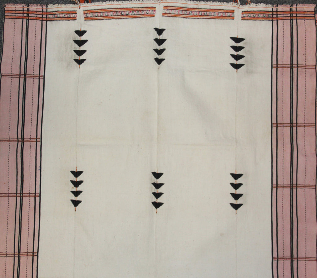 Antique Wall Hanging : Authentic Rongmei Naga Man‰۪s White Background with Embroidered ‰ÛÏBirds‰۝ Design Body Cloth #655