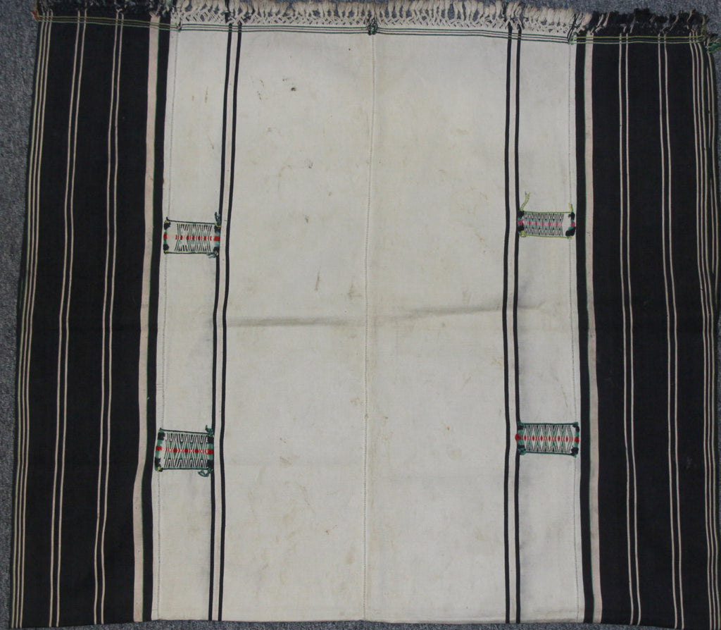 Textiles : Authentic Angami Man/Woman‰۪s Body Cloth with Empty White Background and Woven with Embroidered Patches on Borders #657