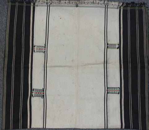 Naga Textiles : Authentic Angami Man/Woman's Body Cloth with Empty White Background and Woven with Embroidered Patches on Borders #657