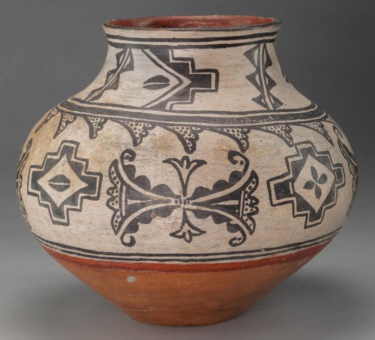 Native American Indian Pottery : Native American Tesuque Poly Chrome Jar, Ca. 1890 #522