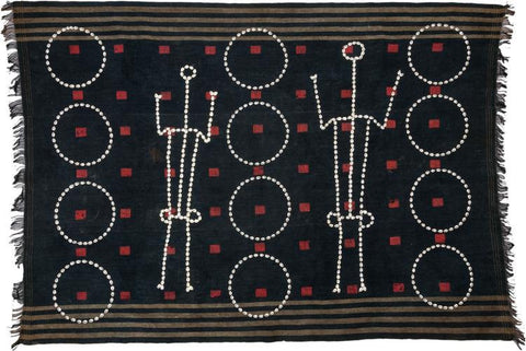 Warrior Body Cloth : Authentic Chang Naga Warrior (Northeastern India) Ceremonial Textile Woven Body Cloth w Cowrie Shell Circles & Human Figures #525