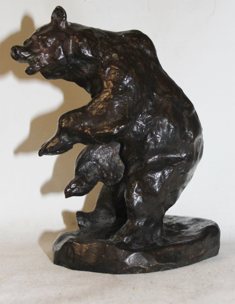 Bear Sculpture : Charles Marion Russell Bronze Sculpture of a Grizzly Bear #532