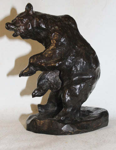 Bear Sculpture : Charles Marion Russell Bronze Sculpture of a Grizzly Bear #532 Sold