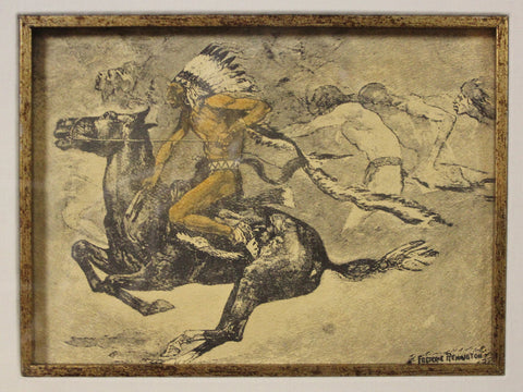 Antique Lithograph : Fredric Remington Lithograph, American Heritage Gallery, Saint Petersburg Collection, Colored Lithograph,#668 Sold