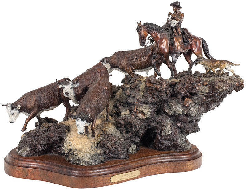 Western Decor : James Regimbal, Bronze Sculpture, Signed, Limited Edition, 26/50. ‰ÛÏCowhands‰۝, 1989, #590