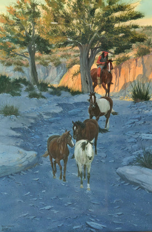 "Western Artists : Ron Stewart Artist, Opaque Water Color Painting, ""New Wealth"", Western Artist, Western Painter, Western American painter,#159"