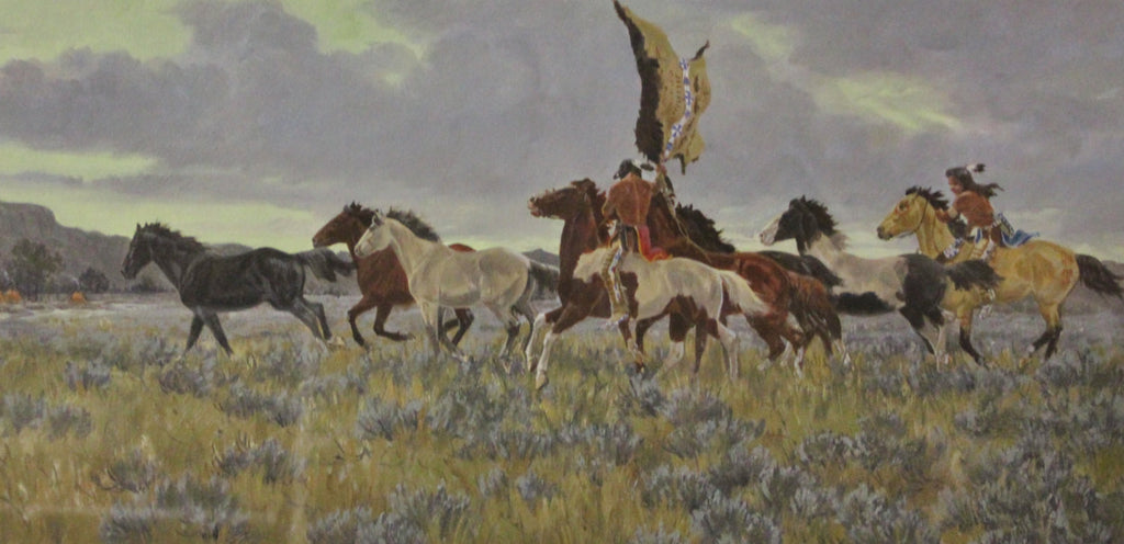 Native Art : Ron Stewart, ‰ÛÏSurprise Raid‰۝ Water Color, Western Artist, Ron Stewart Opaque Water Color Painting, Artist's Remarque, Signed,