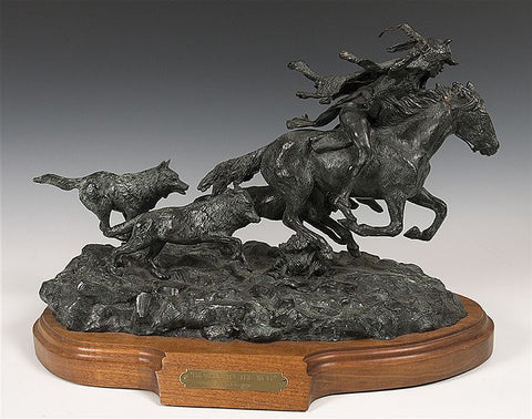 "Fine Art :Rare, Original, Ron Stewart, Bronze Sculpture, ""Brother to the Wolf"",3 of 45, Limited Edition, Excellent Patina, #325"