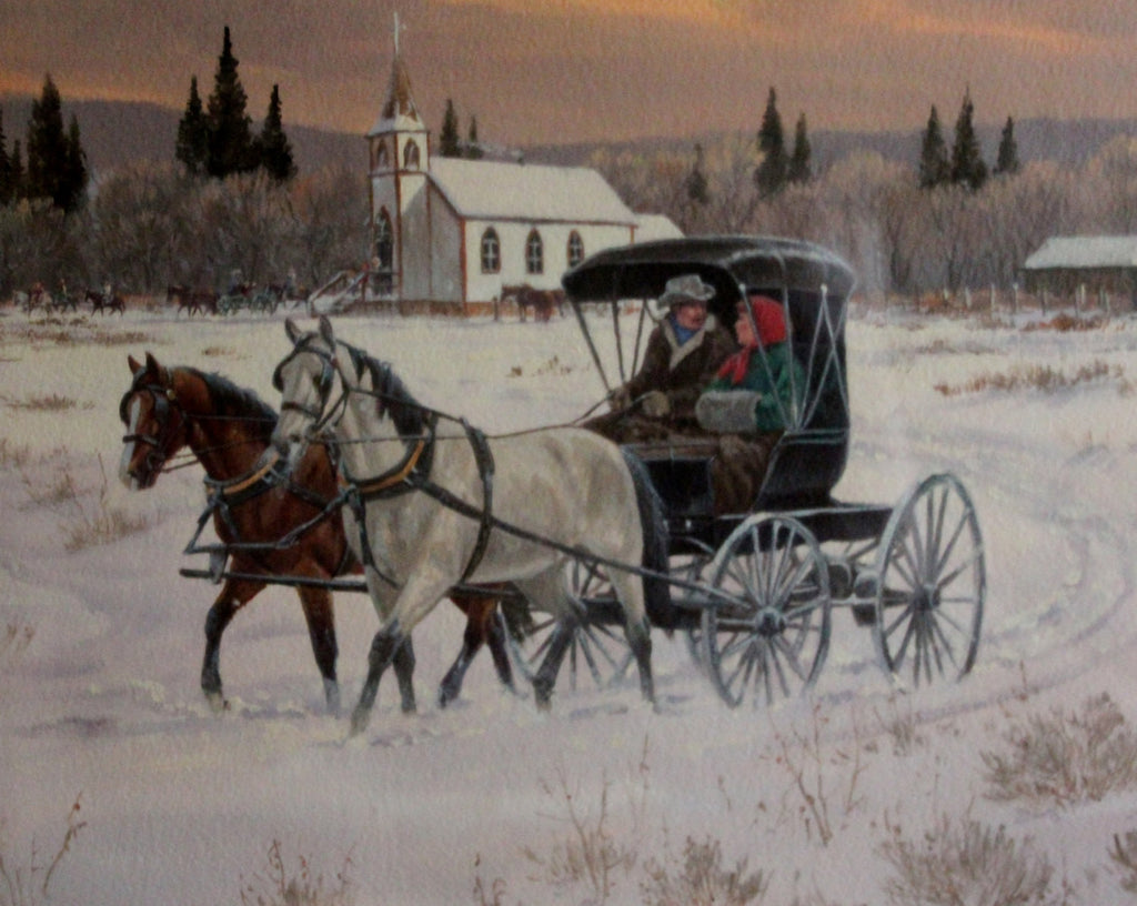 "Original Watercolor : Ron Stewart Western Artist, Leaning Tree Christmas Card, ""A Buggy Ride Home"",Original, Water Color Painting, Vintage"