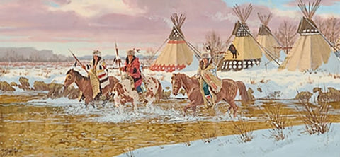 "Indian Painting : Ron Stewart, ""Blackfoot Village"", Signed,  Opaque Water Color Painting,  Original, Western Painting, Ca 1984, #384"