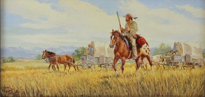 Western Painting : Ron Stewart, Oil Painting, Signed, ‰ÛÏWestward‰۝, Vintage, 1989, Artist‰۪s Symbol, Mountain Guide with Wagon Train,