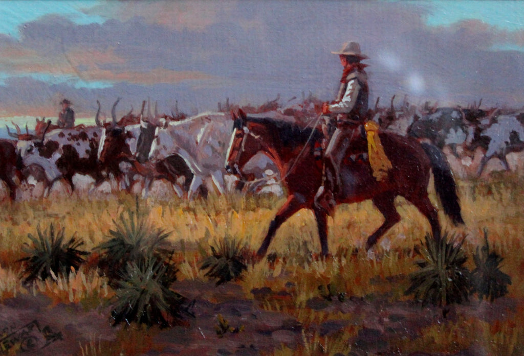 Western Painting : Long Horn Trilogy, Ron Stewart, Oil Painting Under Glass, Scottsdale, AZ, Signed, Artists Remarque, Western Artist