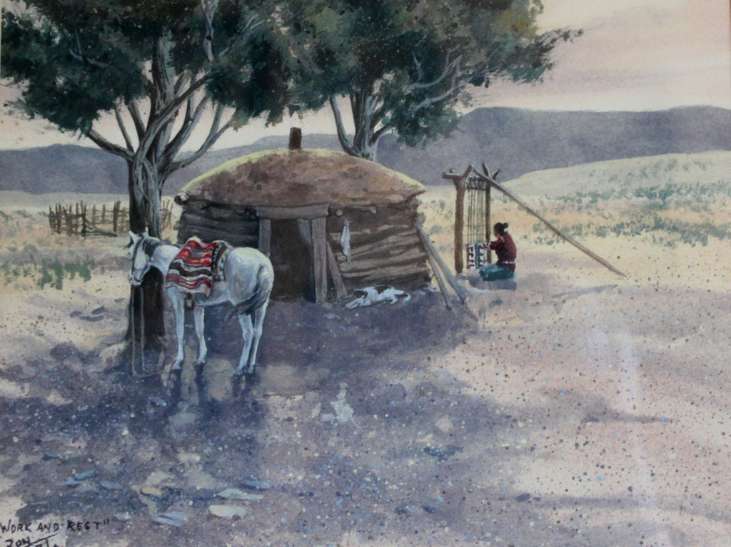 "Original Watercolor : Ron Stewart (1941-), Ron Stewart Western Water Color Painting, Signed, "" Work and Rest"", Ron Stewart, Western Artists"