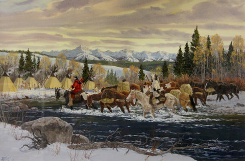 "Winter Art : Ron Stewart Western Artist, Ron Stewart Art, Signed, Detailed Remarque, ""Winter Visitors"", Painted in 1979, Water Color,#161"