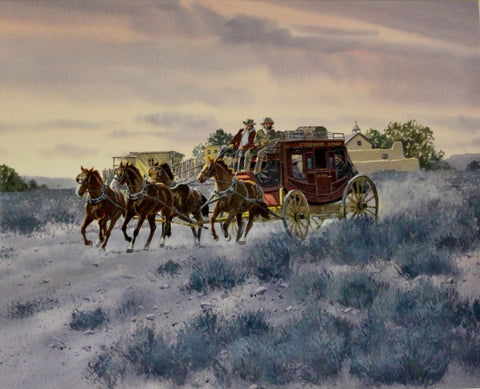 "Western Art : Ron Stewart Water Color, ""Stage to Santa Fe"", Ron Stewart Art, Stage Depot Remarque. Western Art, Stage Coach, Signed, #672"