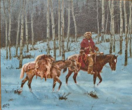 "Horse Painting : Ron Stewart Oil Painting, Original Oil, ""Through The Silence"" Signed Ron Stewart, Ron Stewart Western Art, Ron Stewart Art"