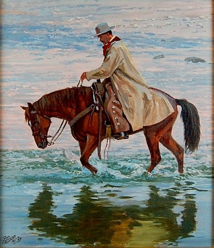 "Horse Painting : Ron Stewart Oil Painting, Original Ron Stewart Oil, ""Tranquility"" Signed Ron Stewart, Ron Stewart Western Art, Ron Stewart"
