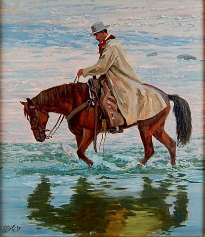 "Horse Painting : Ron Stewart Oil Painting, Original Ron Stewart Oil, ""Tranquility"" Signed Ron Stewart, Ron Stewart Western Art, Ron Stewart,#99"